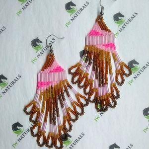 🎉HP🎉 Handmade Pink Camo Beaded Earrings